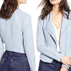 BlankNYC Mesh Crepe Blue Moto Jacket Sz XS